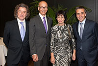 Mr. Maurice Turrettini, President of the Geneva International Motor Show, Mrs. Doris Leuthard, Federal Councillor in charge of the Federal Department of the Environment, Transport, Energy and Communication (DETEC), Mr. François Longchamp, President of the council of the State of Geneva, International Motor Show, March 2015.