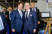With Mr Ignazio Cassis, Federal Councillor of the Department of Foreign Affairs, for the 46th International Exhibition of Inventions Geneva, April 2018.