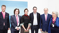 ArtMonte-Carlo, Monaco, HSH Prince Albert II, Sovereign Prince of Monaco, HRH, Princess Caroline of Hanover, Mr. Thomas Hug Director of artmonte-carlo, Mr. Claude Membrez Managing Director of Palexpo SA, April 2017. Photo Gander Cransac.