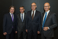 Mr François Longchamp, President of the Geneva State Counsil, Mr Guy Parmelin, federal counsellor, head of the Federal Department of Defence, Civil Protection and Sports, and Mr Maurice Turrettini, President of the Geneva international motor show, march 2018.