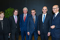 Mr. Robert Hensler with Mrs. Ester Alder, Mayor of Geneva, Mr. Luc Barthassat, State Councillor in charge of the Department for Environment, Transports and Agriculture (DETA), Mr. François Longchamp, President of the Geneva Government, Mr. Alain Berset, Federal Councillor, Mr. Maurice Turrettini, President of the Geneva International Motor Show, March 2016.