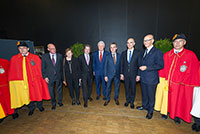 Geneva International Motor Show, Mr. Robert Hensler with Mr. Jean-Marc Guinchard, President of the Grand Council, Mrs. Ester Alder, Mayor of Geneva, Mr. Luc Barthassat, State Councillor in charge of the Department for Environment, Transports and Agriculture (DETA), Mr. François Longchamp, President of the Council of the State of Geneva, Mr. Alain Berset, Federal Councillor, Mr. Maurice Turrettini, President of the Geneva International Motor Show, March 2016.