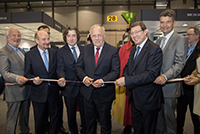 Opening of the EPHJ-EPMT-SMT exhibition, with Mr. Johann Schneider-Ammann, Federal Councillor, M. Mauro Poggia, State Councillor, Mr. Claude Membrez Managing Director of Palexpo SA, June 2017.