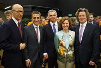 Mr. Robert Hensler with Mr. Maurice Turrettini, President of the International Motor Show, Mr. François Longchamp, President of the Geneva Government, Mr. Didier Burkhalter, President of the Swiss Confederation and his spouse. March 2014. (copyright Marini)